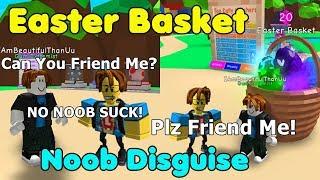Noob Disguise With Easter Basket Secret Pet! Noob Trolling Fun - Bubble Gum Simulator