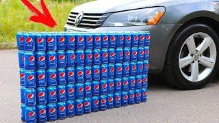 EXPERIMENT CAR vs 100 PEPSI Cans