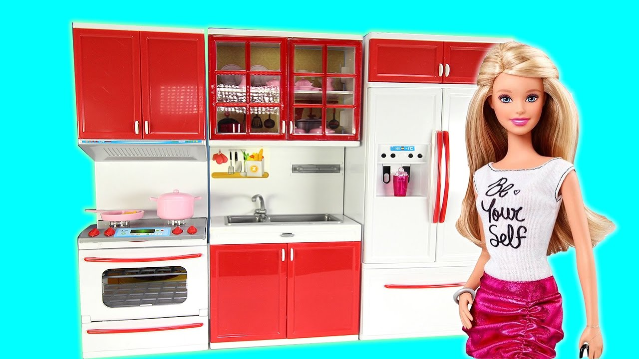Cooking Kitchen Fridge Oven Toy Set With Barbie For Children
