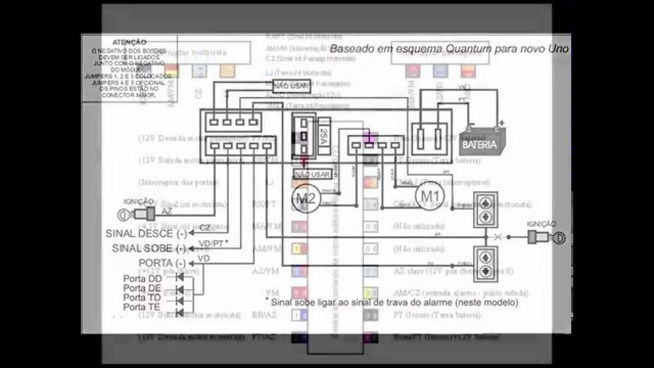 Esquema De Instala 231 227 O M 243 Dulo De Vidros E Alarme Original