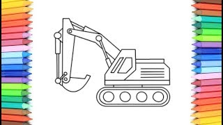 How To Draw A Excavator for Kids 💙💜💖  Excavator Drawing and Coloring Pages for Kids