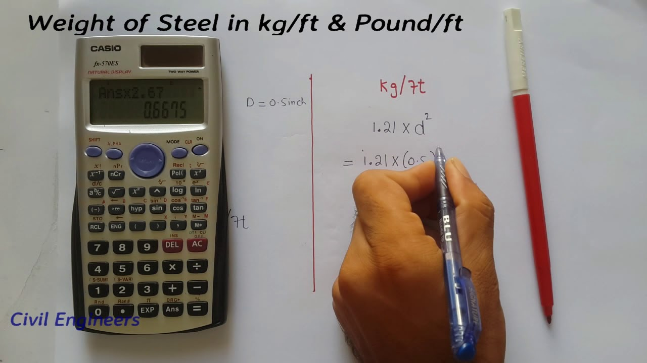 How To Calculate Weight Of Steel Bar In Kgft And Poundft Youtube