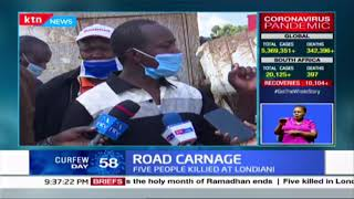 Five people died while twelve are nursing injuries following a road accident in Londiani