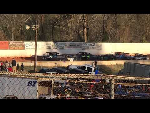 03/23/2019 East Lincoln Speedway Thunder Bomber Heat 1.  #99 Hilton Wins
