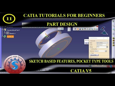 SKETCH BASED FEATURES, POCKET DEFINITION TYPE TOOLS    PART DESIGN CATIA TUTORIAL #11 thumbnail
