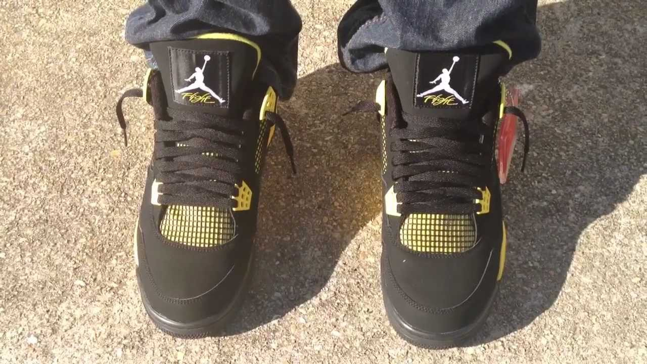 air jordan 4 iv retro thunder on feet youtube