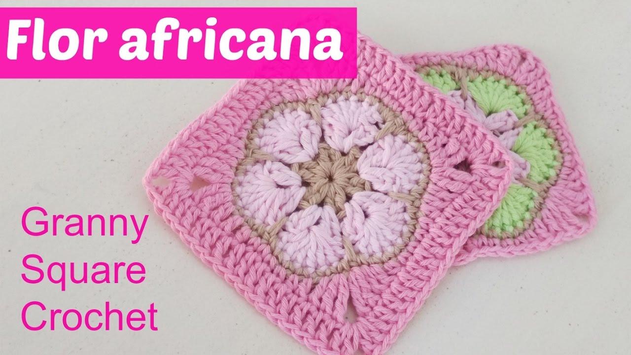 Flor africana transformada en square granny crochet - YouTube