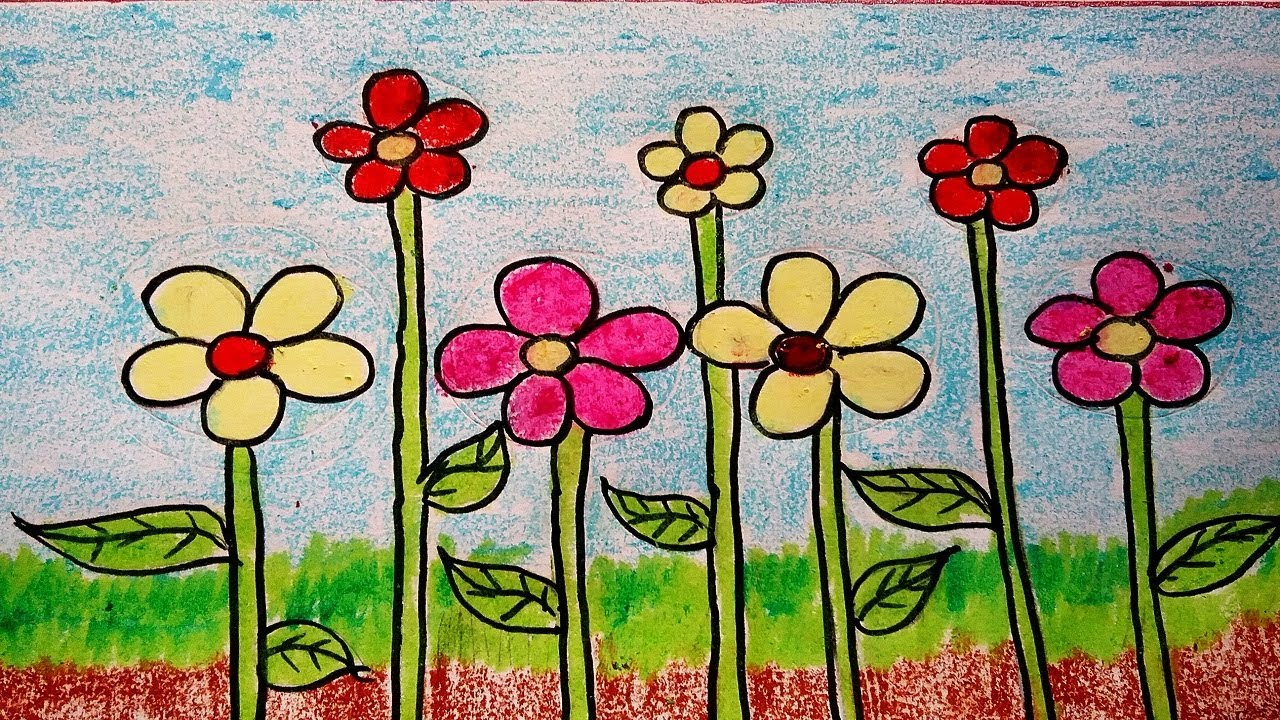 How To Draw Flowers Easily For Kids Diy Greeting Card Drawing Ideas Pretty Flowers Drawing