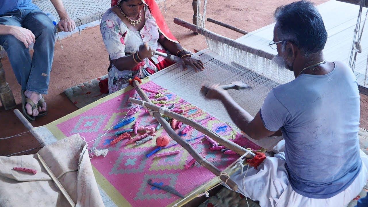 Making Handmade Carpets And Rugs In Indian Village At Jodhpur Rajasthan Handicraft Items
