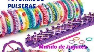 Repeat youtube video Como Hacer Pulseras De Ligas-Gomitas| Loom Bands|DIY| Con los Dedos| Mundo de juguetes