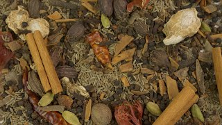 Closeup shot of a mixture of traditional raw spices which gives flavors to Indian cuisine