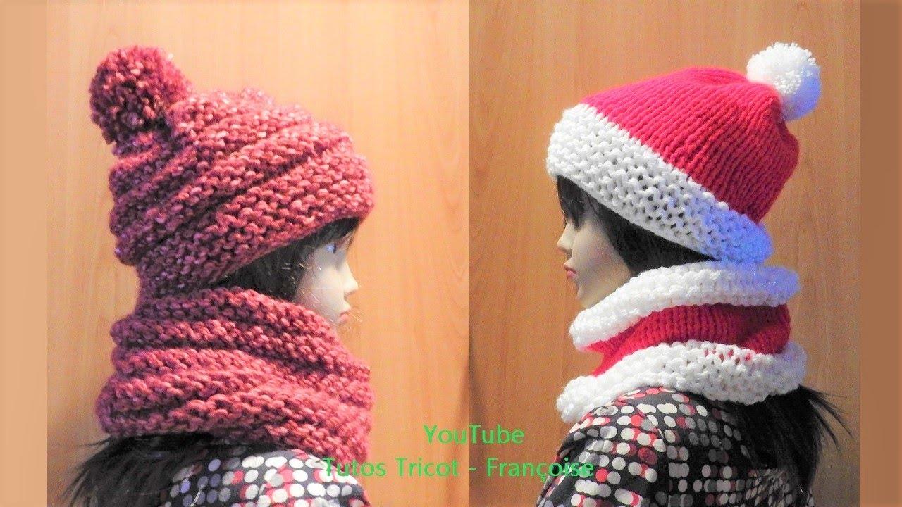 bdfa0cced9820 Tuto tricot Bonnet enfant 3 à 8 ans & Snood | Tricoter en cercle avec  aiguille circulaire