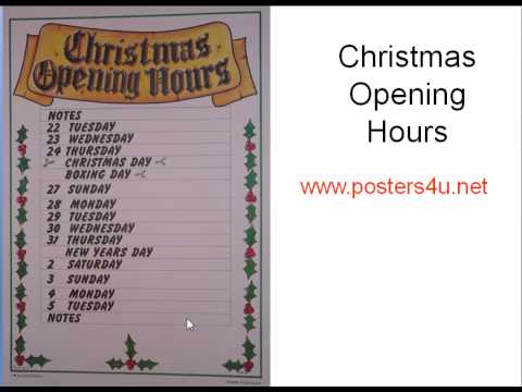 Christmas opening hours poster youtube for V bathroom opening hours
