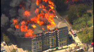 Massive 4 alarm Houston Apartment Fire