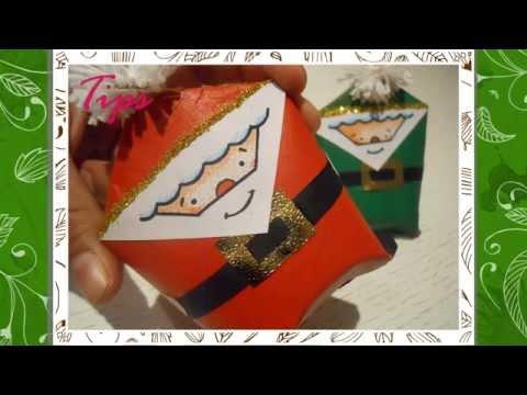 Santa Claus - Dulceros - DIY - Manualidades de Navidad - Tubos de papel higienico