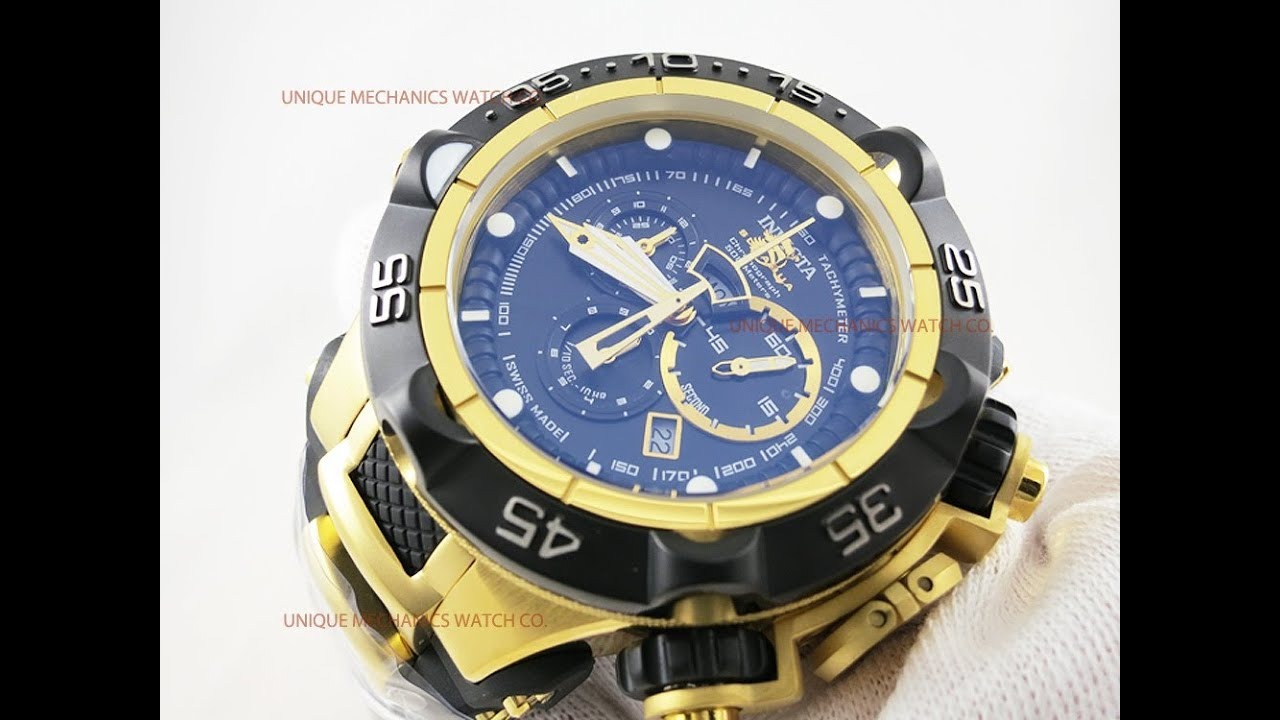 Invicta 12887 Subaqua Noma Black Dial Gold Tone Chronograph Watch