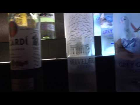 The alcohol selection in the Caraway Lounge, Romford tracking left to right
