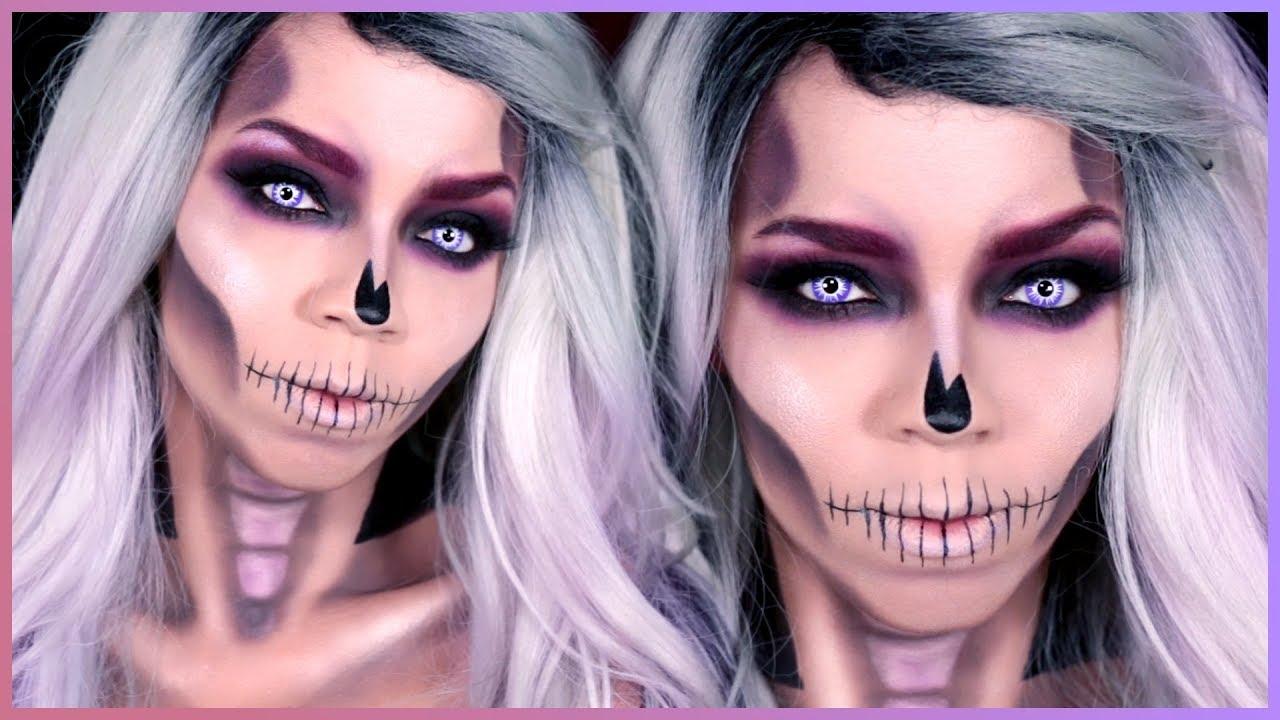 Easy Skull Makeup Tutorial - Halloween Skull Makeup Tutorial - YouTube