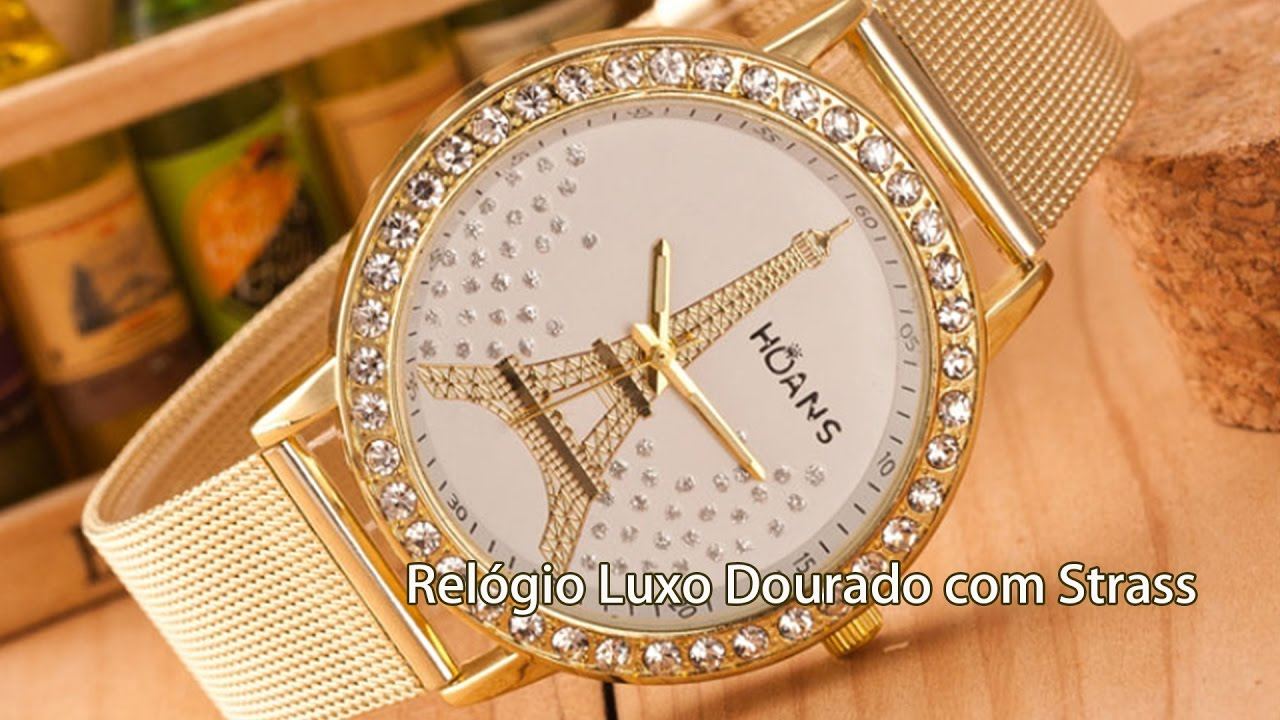 7f70259658a Relógio De Pulso Feminino Dourado Com Strass Pulseira Luxo - YouTube