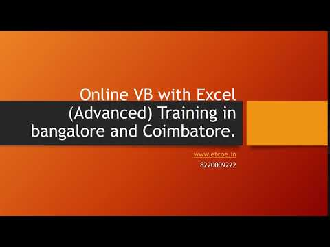 Online VB with Excel Advanced Training in bangalore and coimbatore-etcoe.in