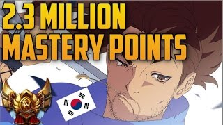 GOLD Korean YASUO 2,300,000 MASTERY POINTS- Spectate Highest Mastery Points on Yasuo