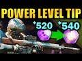 Destiny 2: BIG POWER LEVELING TIP! - Get to 600 Power Faster | Forsaken