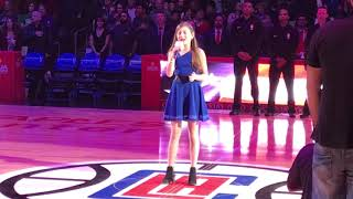 12 yr old Sofie Landsman sings anthem for LA Clippers