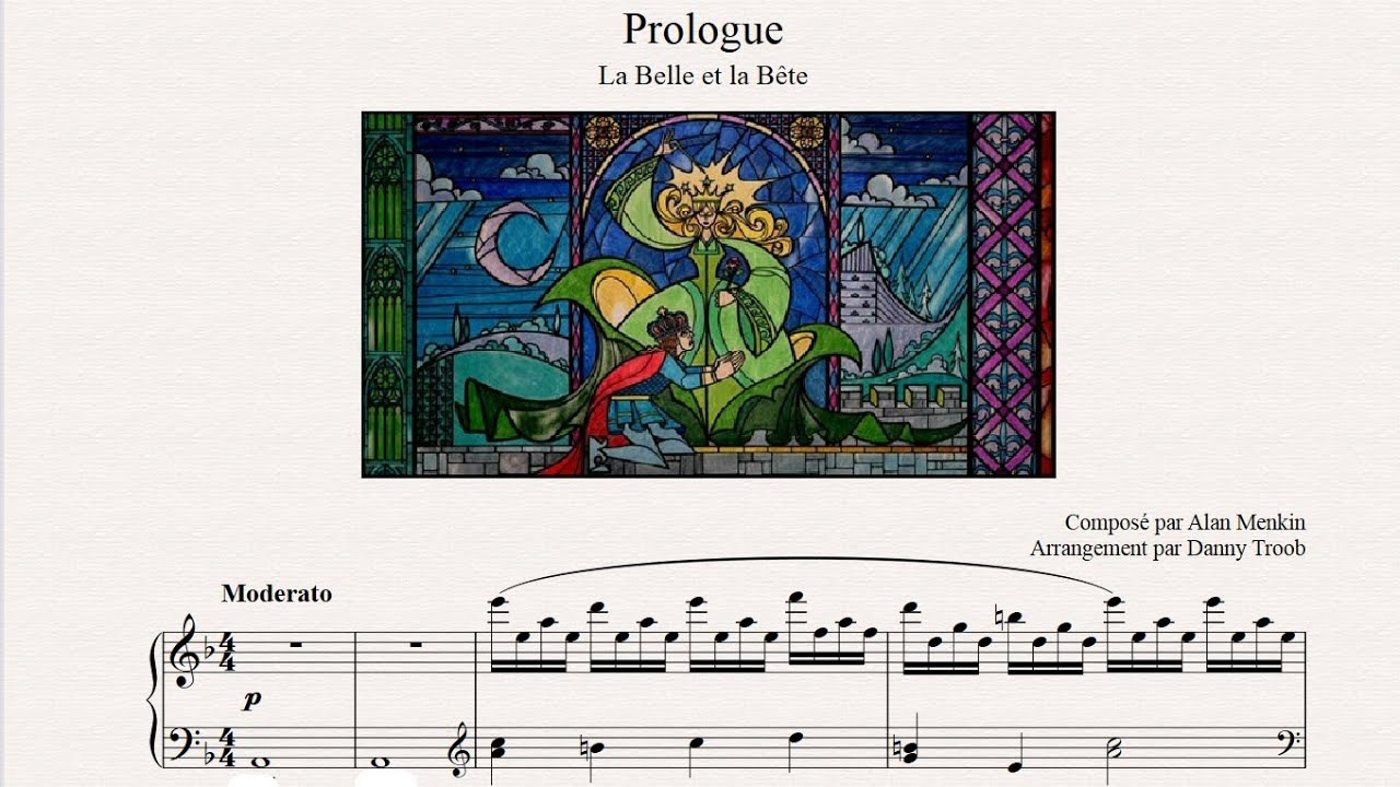 photograph regarding Beauty and the Beast Piano Sheet Music Free Printable titled Prologue - Elegance And The Beast (piano sheet new music)