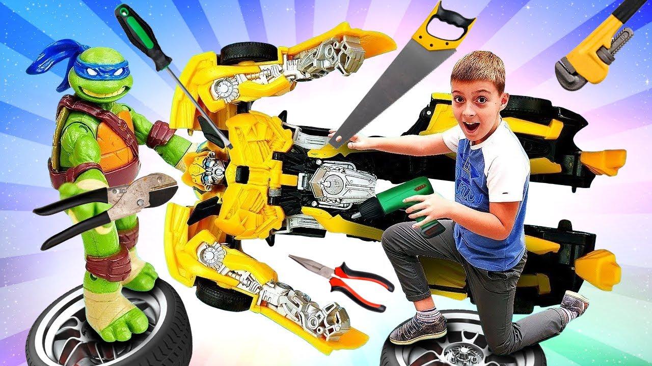 Видео с игрушками - Черепашки Ниндзя чинят Бамблби - Игры ...