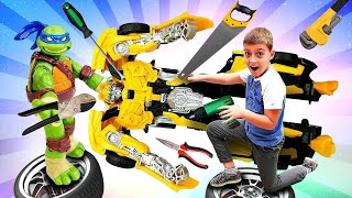Видео с игрушками - Черепашки Ниндзя чинят Бамблби - Игры для мальчиков. Роботы Трансформеры