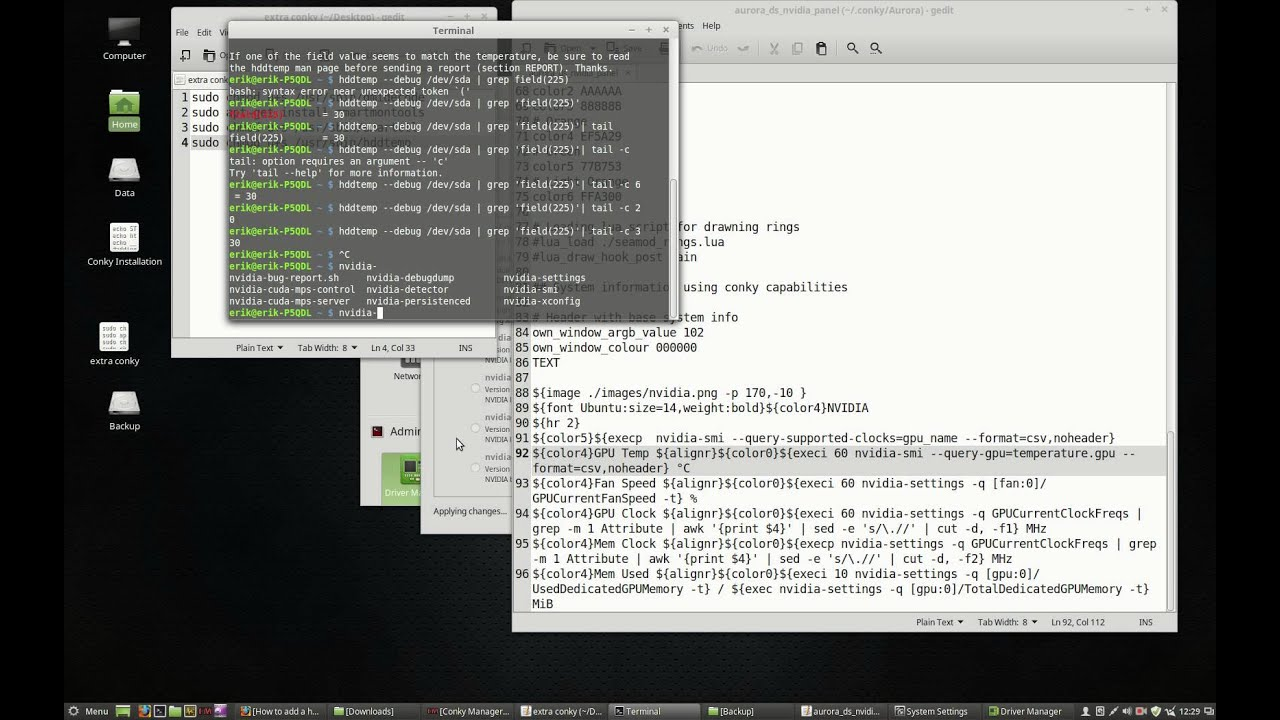 How to install conky and the conky theme Aurora | ERiK DuBoiS