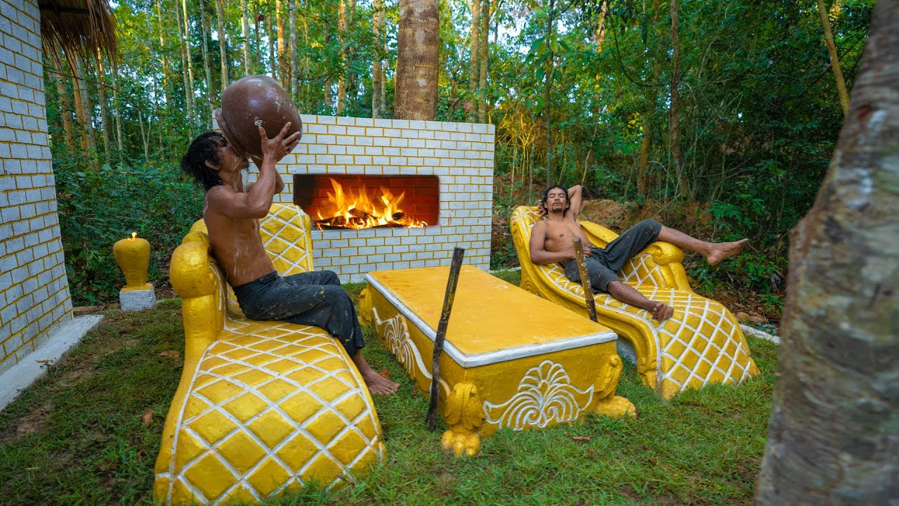 Build the Most Beautiful Out Door Living Room With FirePlace for Thatched Cottage Villa
