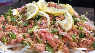 ភ្លាសាច់គោKhmer raw beef salad-Beef tartare-Khmer food