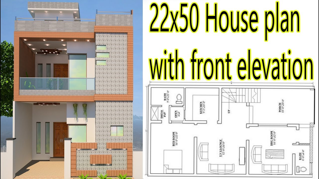 22x50 House Plan With Front Elevation 2018 Urdu/Hindi