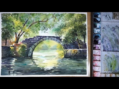 Watercolor landscape Painting : A Chinese Stone Bridge