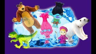 Learn Colors Characters Names with Toys Masha And The Bear, TROLLS, Animals   Toys in the ICE