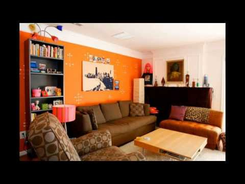 living room paint colors orange - YouTube