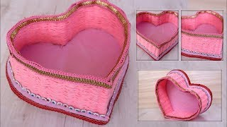 Heart Shaped Box Craft || How To Make A Heart Shaped Paper Gift Box 💕 DIY Gift Box || Woolen Craft