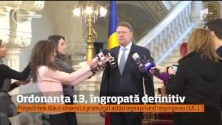 Klaus Iohannis a îngropat definitiv controversata Ordonanţă 13 prin care Codurile Penale erau mod