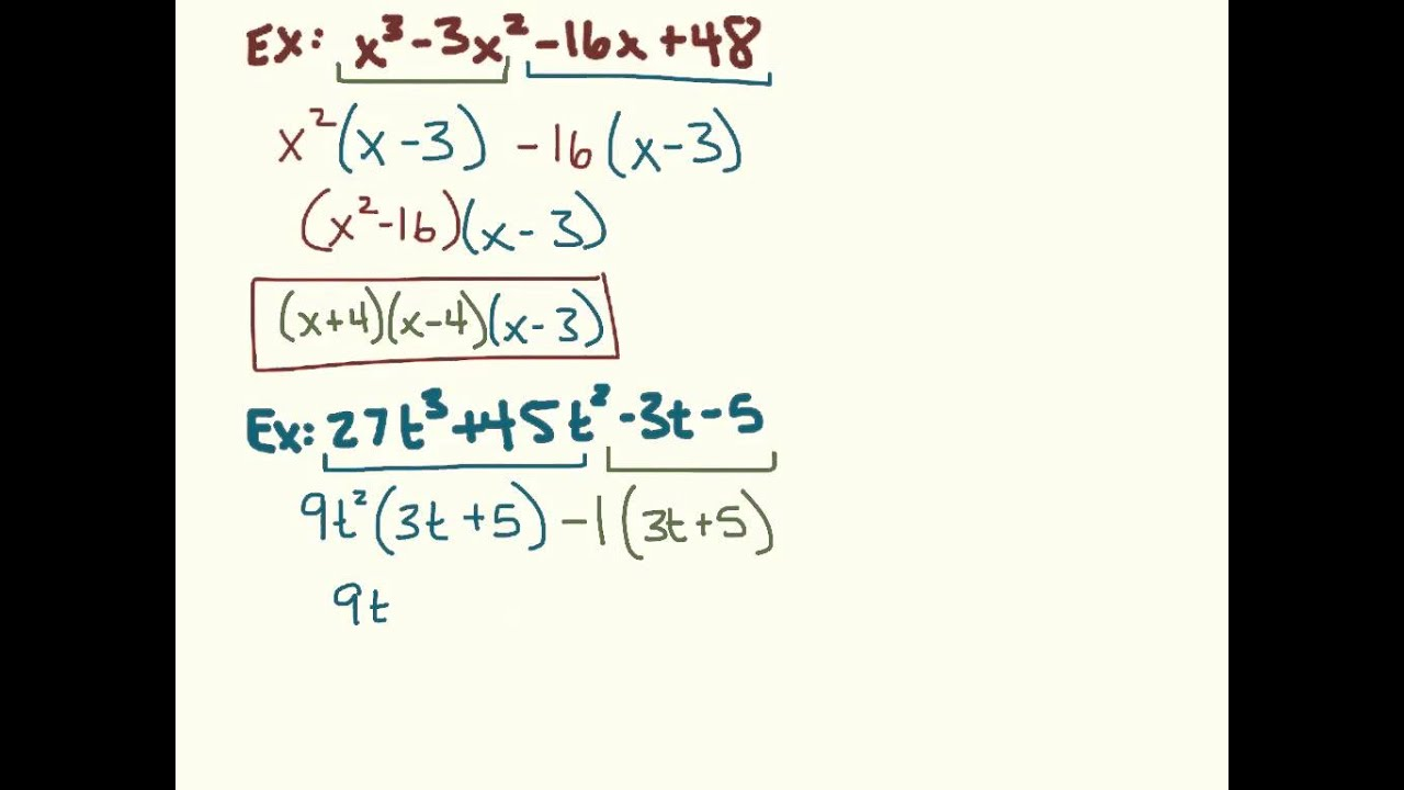 Factor polynomials by grouping and using quadratic form notes ...