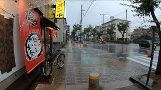 Walking through heavy rain in Japan after having a huge argument with my wife - ASMR walk around
