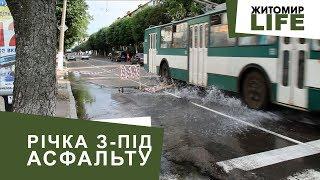 Фонтан з-під асфальту: комунальники лагодять порив мережі на вулиці Грушевського у Житомирі