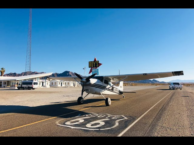 Flying to Amboy on Route 66 - Cessna 180