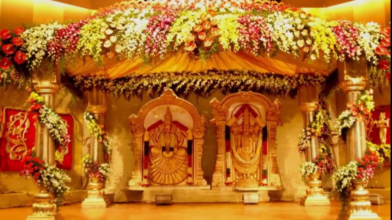 South Indian Wedding Reception Stage Decoration Photos