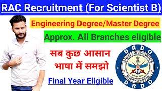 RAC Recruitment 2020 - Mechanical/Electrical/Civil/CSE/IT......etc. || Final year eligible || Hindi