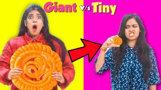 We only ate GIANT & TINY Food for 24 hours!! Part 2 😱