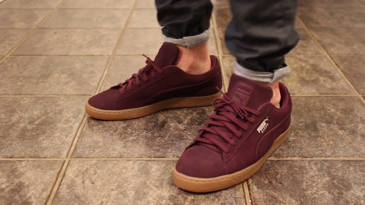 low cost ebc7a f67bd Puma Suede Classic Debossed Maron ON FEET