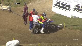 Valentin Guillod & Damon Graulus crash MXGP of France - motocross 2015