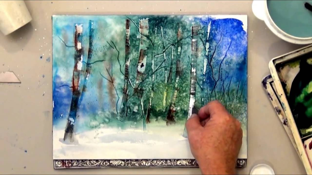 How To Scrape Paint Off For Watercolor Tree Effects YouTube