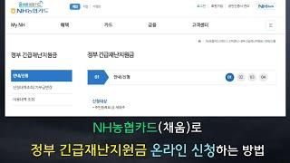 NH 농협카드 (채움)로 정부 긴급재난지원금 온라인 신…